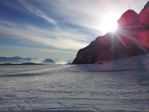 Soluppgång på Dachsteinglaciären
